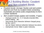 a 2 building blocks covalent and non covalent bonds