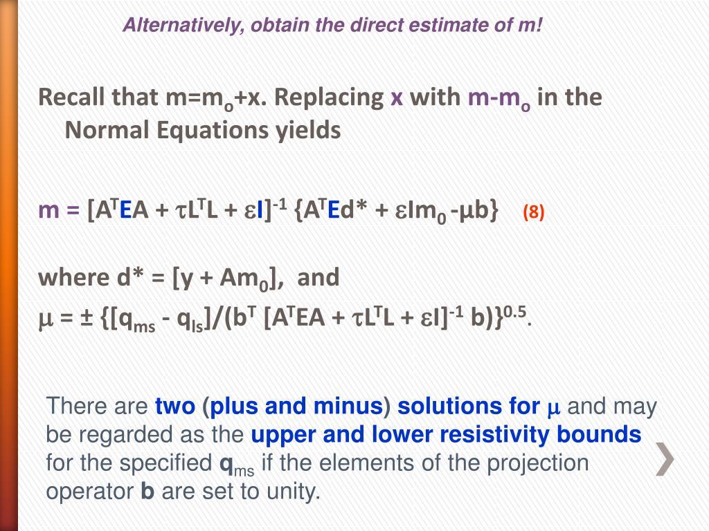 Alternatively, obtain the direct estimate of m!