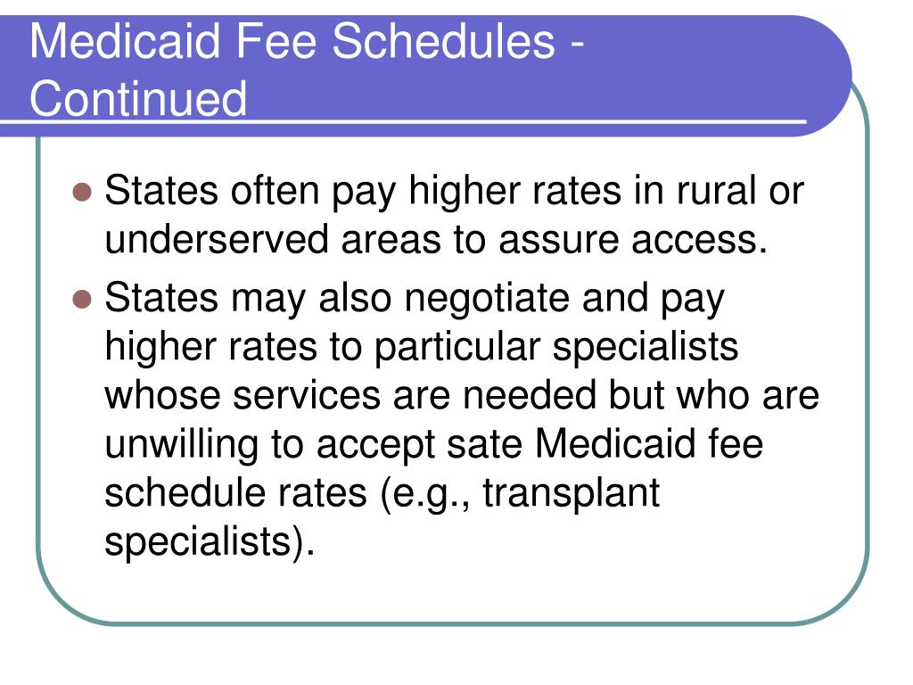 Medicaid Fee Schedules - Continued