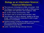 biology as an information science historical milestones