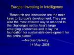 europe investing in intelligence