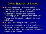 obama statement on science