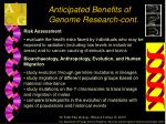 anticipated benefits of genome research cont