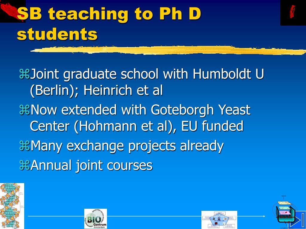 SB teaching to Ph D students