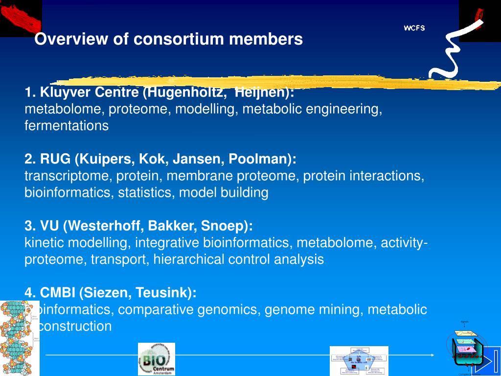 Overview of consortium members