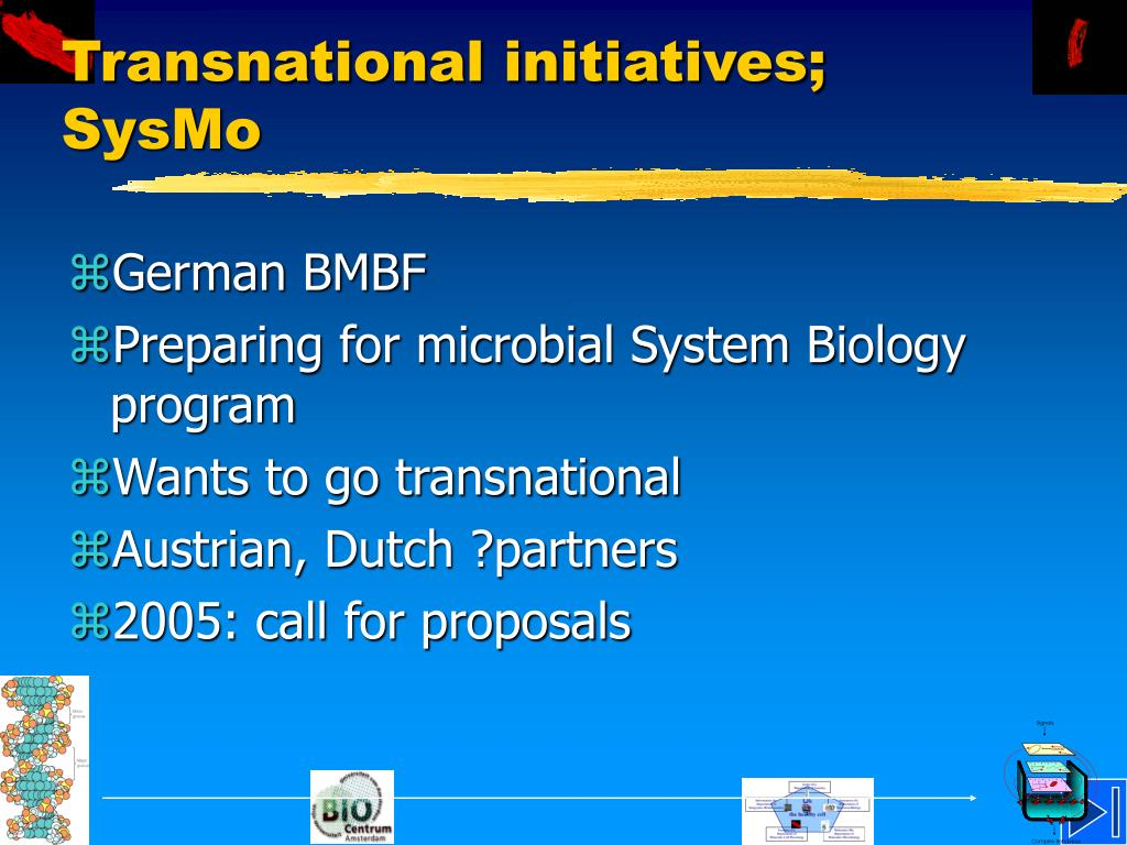 Transnational initiatives; SysMo