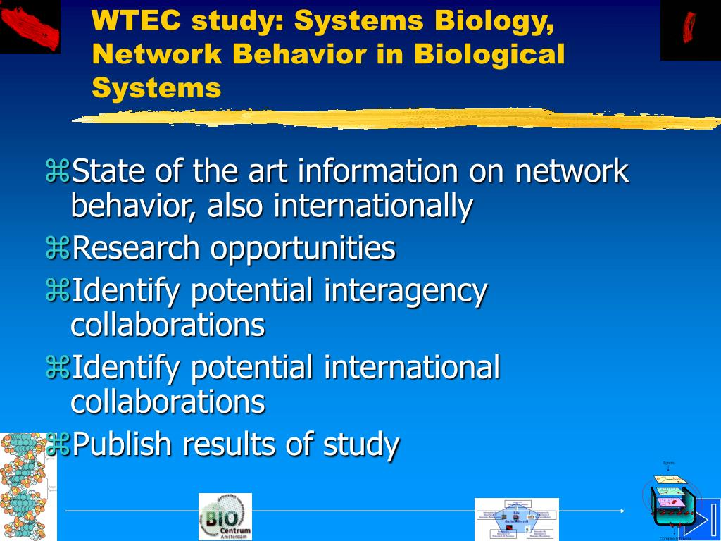 WTEC study: Systems Biology, Network Behavior in Biological Systems