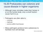 16 20 prokaryotes can colonize and cause disease in higher organisms