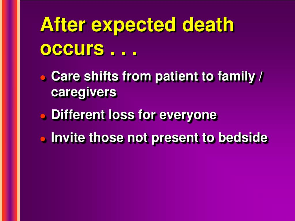 After expected death occurs . . .