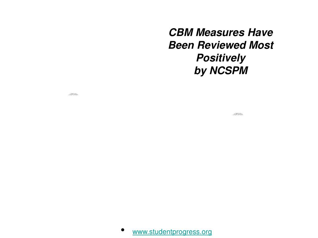 CBM Measures Have Been Reviewed Most Positively