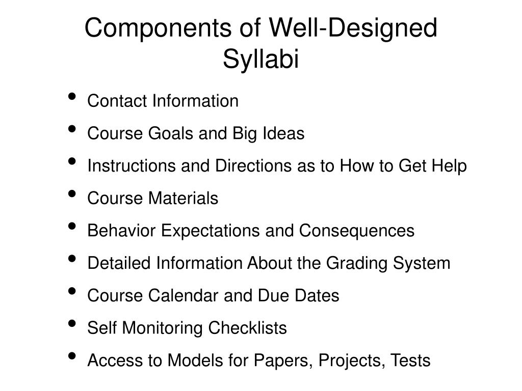 Components of Well-Designed Syllabi