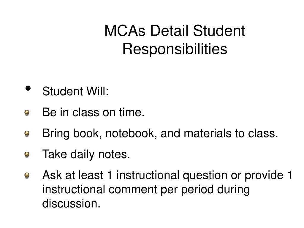 MCAs Detail Student Responsibilities