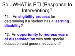 so what is rti response to intervention
