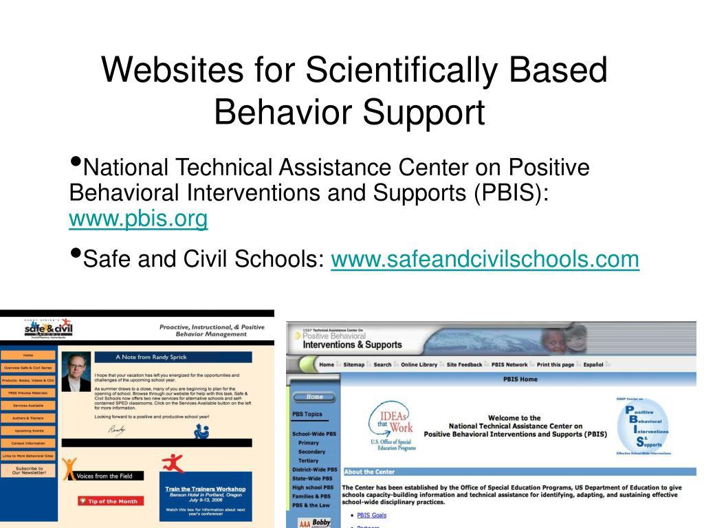 Websites for Scientifically Based Behavior Support