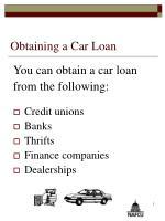 obtaining a car loan