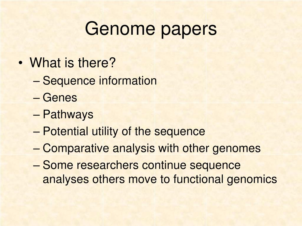 Genome papers