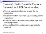 essential health benefits factors required for hhs consideration
