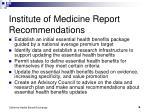 institute of medicine report recommendations