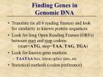 finding genes in genomic dna