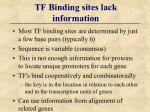 tf binding sites lack information