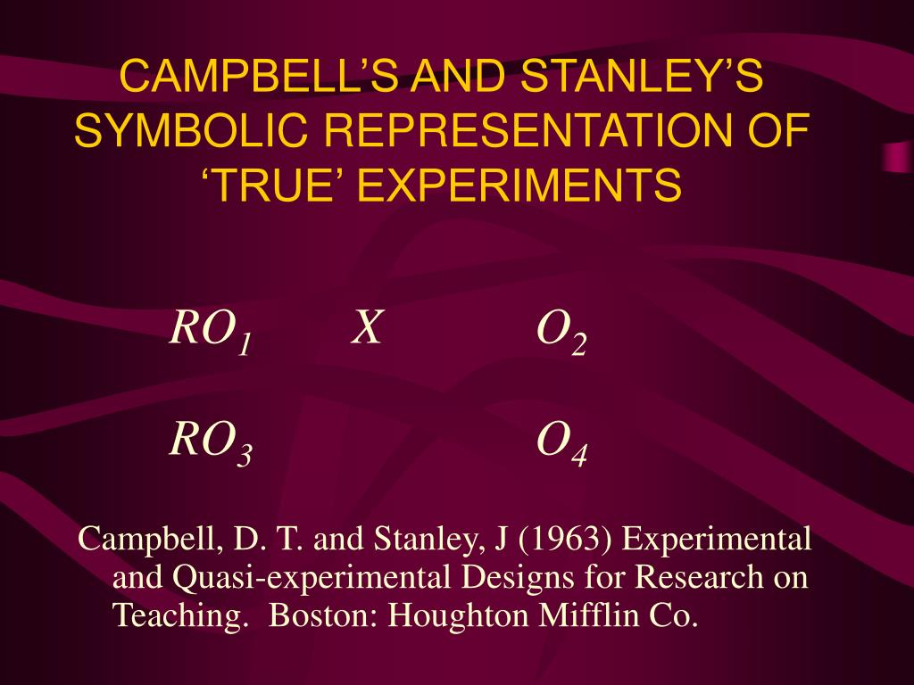 Ppt campbells and stanleys symbolic representation of true ppt campbells and stanleys symbolic representation of true experiments powerpoint presentation id654499 buycottarizona