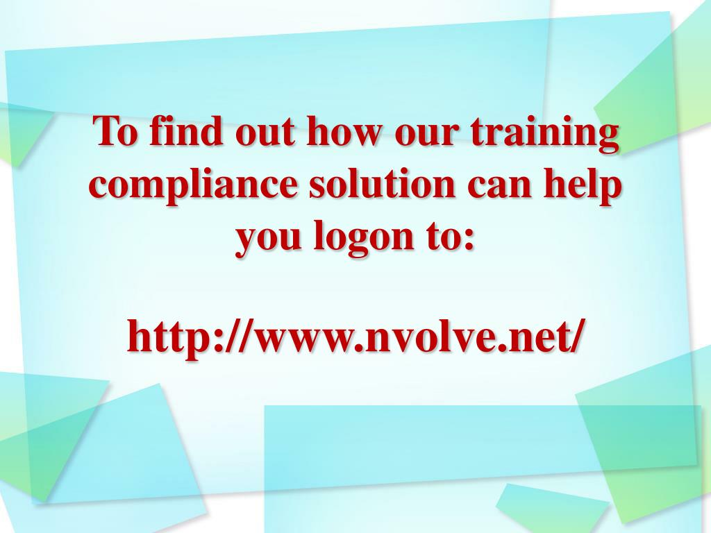 To find out how our training compliance solution can help you logon to: