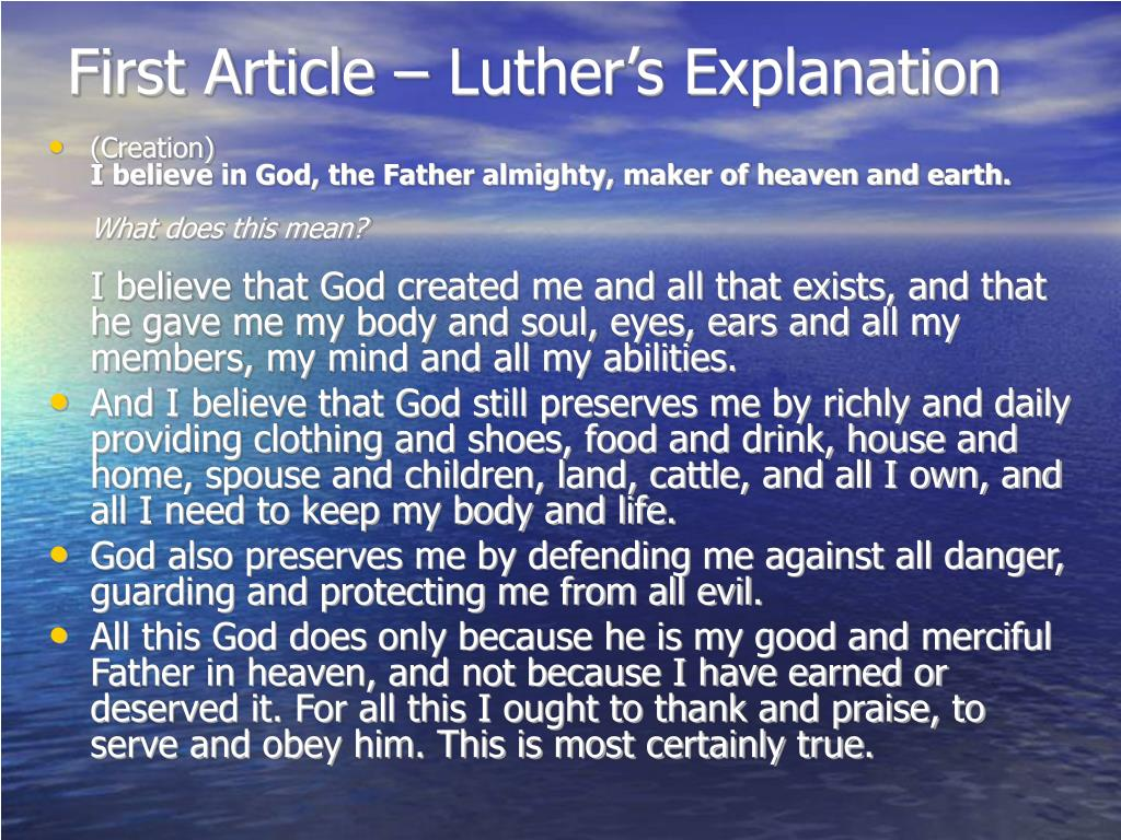 First Article – Luther's Explanation