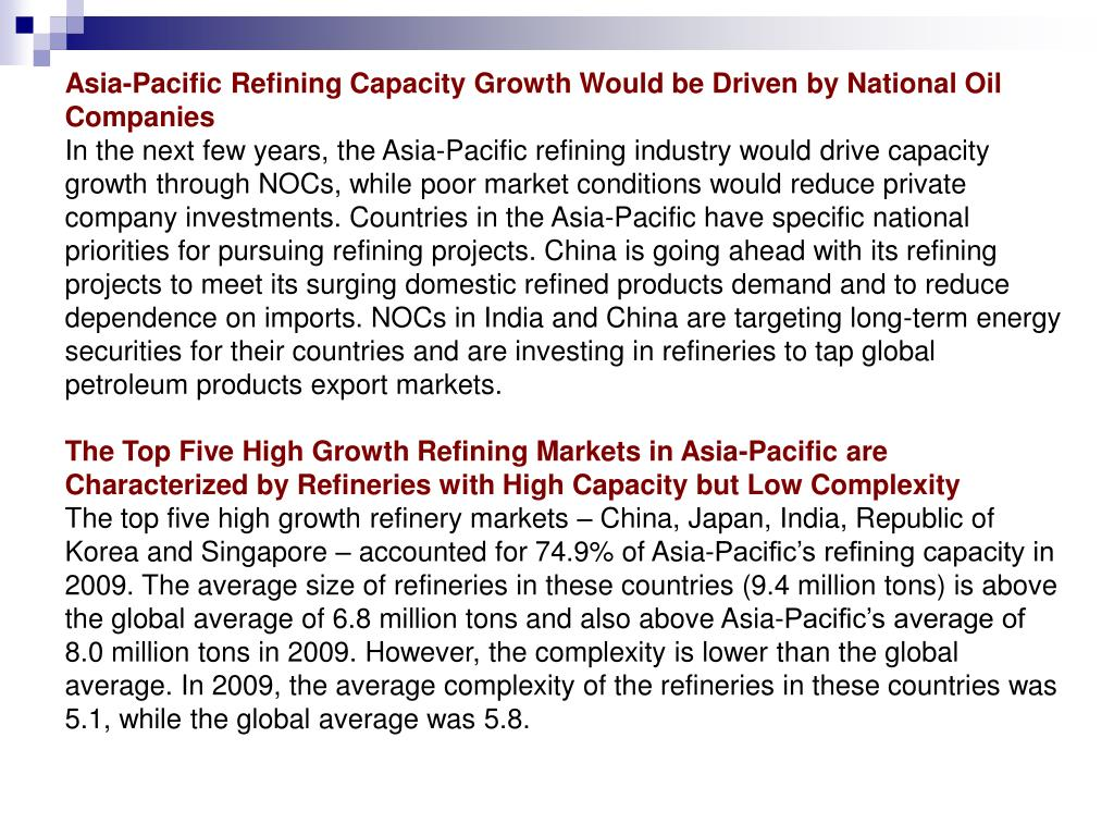 Asia-Pacific Refining Capacity Growth Would be Driven by National Oil Companies