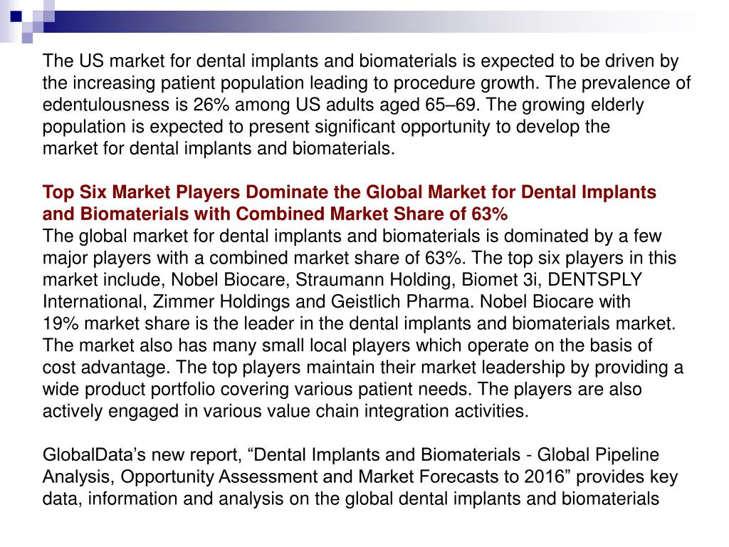 The US market for dental implants and biomaterials is expected to be driven by the increasing patient population leading to procedure growth. The prevalence of edentulousness is 26% among US adults aged 65–69. The growing elderly population is expected to present significant opportunity to develop the