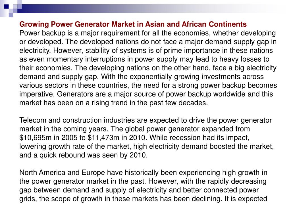 Growing Power Generator Market in Asian and African Continents