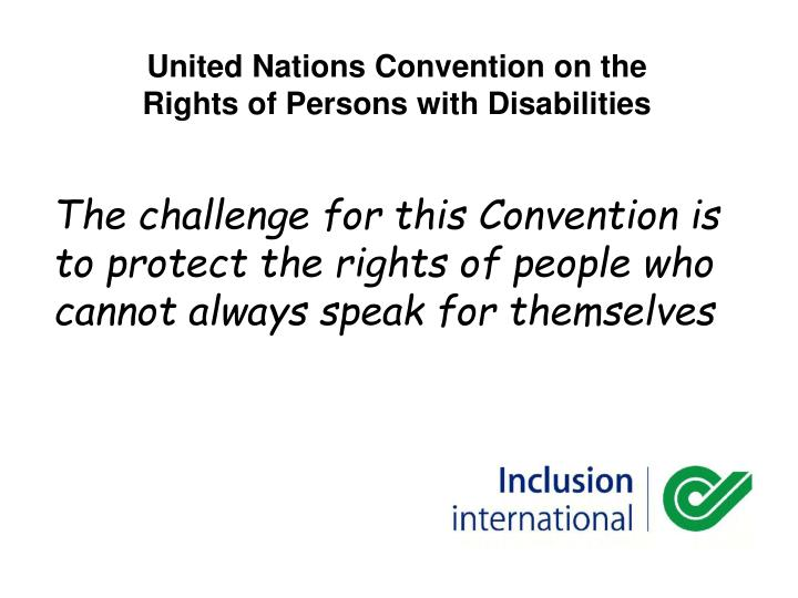 united nations convention on the rights of persons with disabilities n.