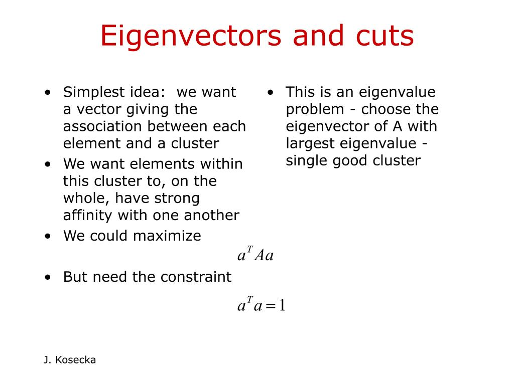 Simplest idea:  we want a vector giving the association between each element and a cluster
