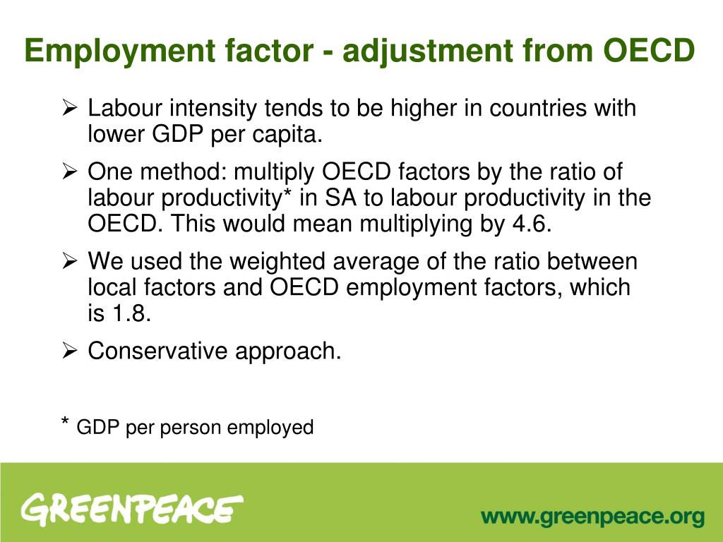 Employment factor - adjustment from OECD