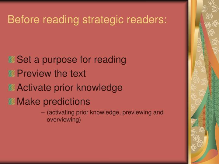 Before reading strategic readers