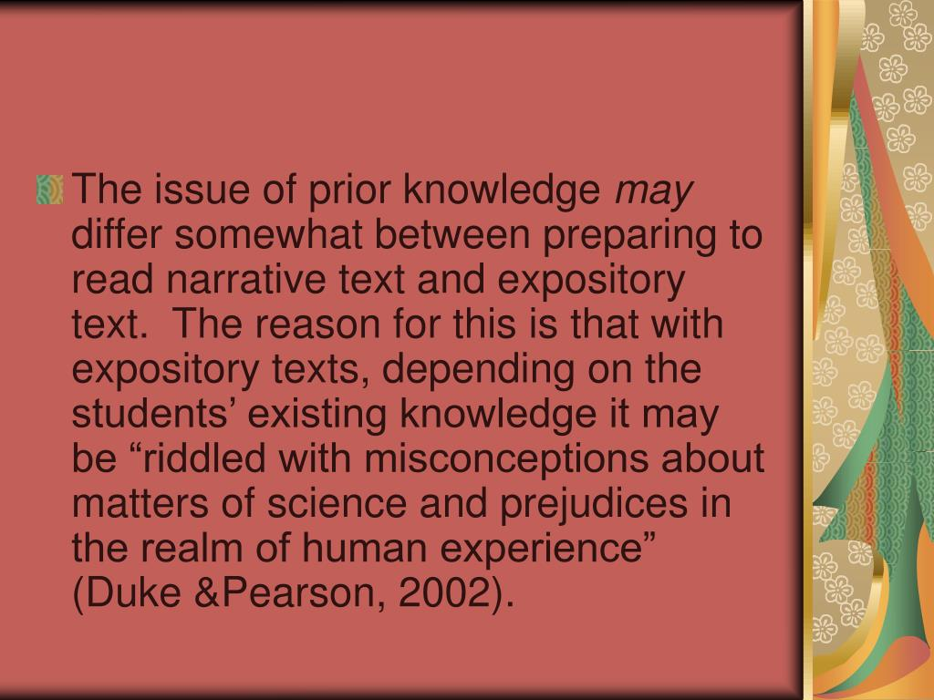 The issue of prior knowledge