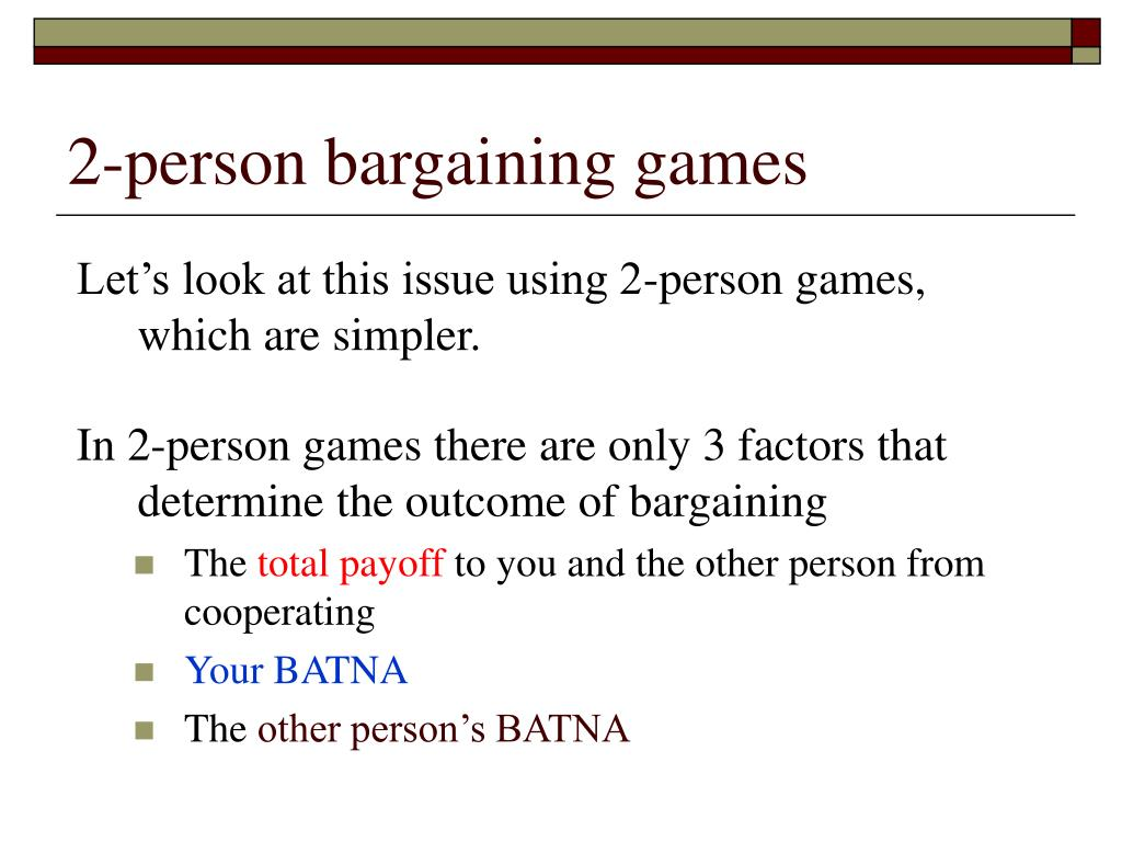 2-person bargaining games