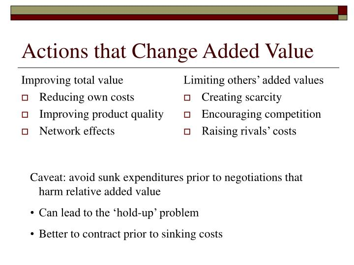 Actions that change added value