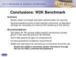 conclusions w2k benchmark