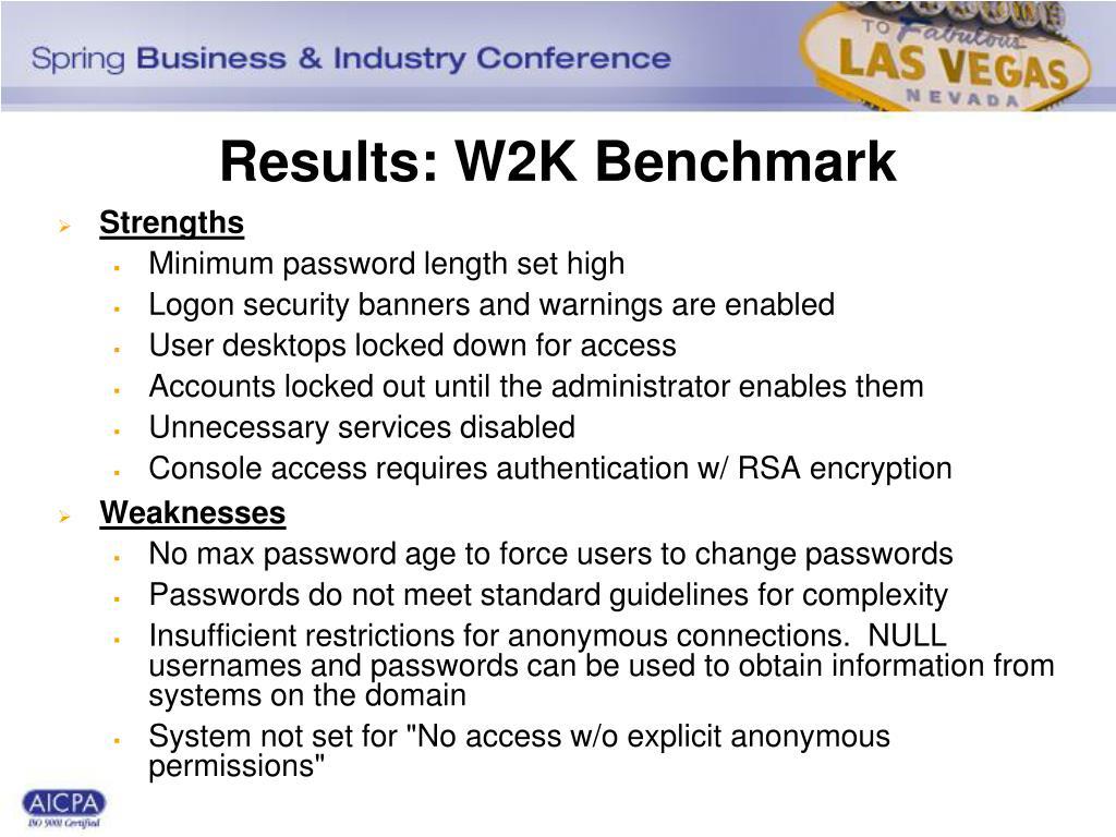 Results: W2K Benchmark