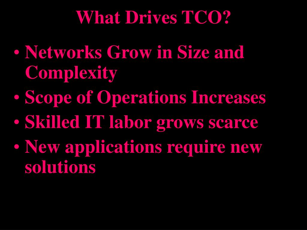 What Drives TCO?
