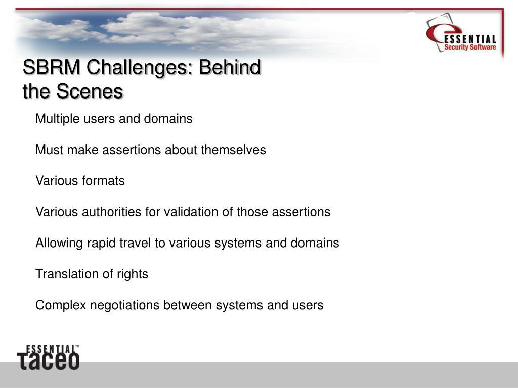 SBRM Challenges: Behind the Scenes