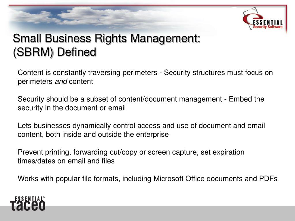 Small Business Rights Management: (SBRM) Defined