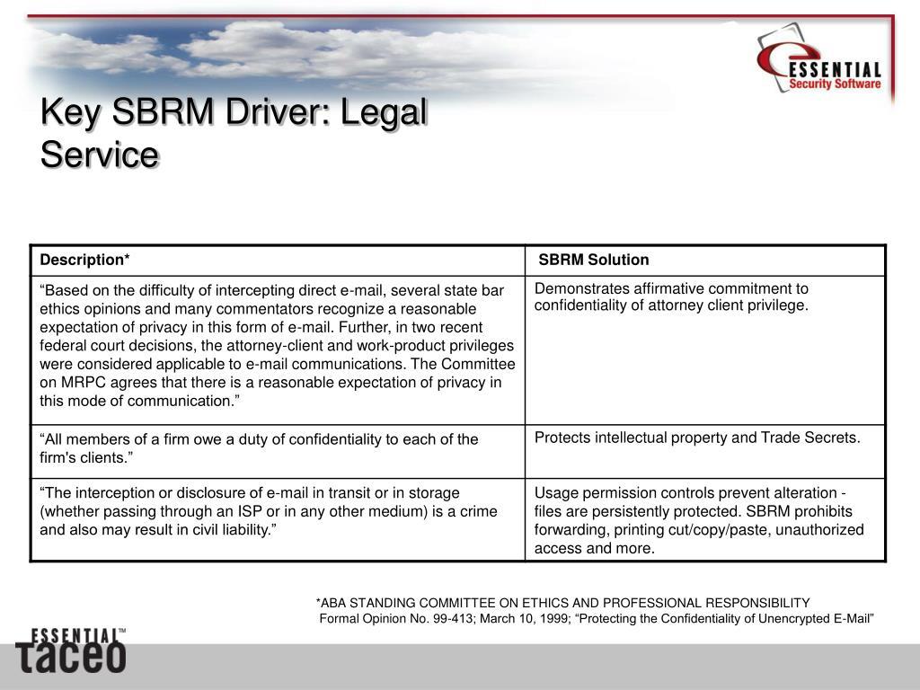 Key SBRM Driver: Legal Service
