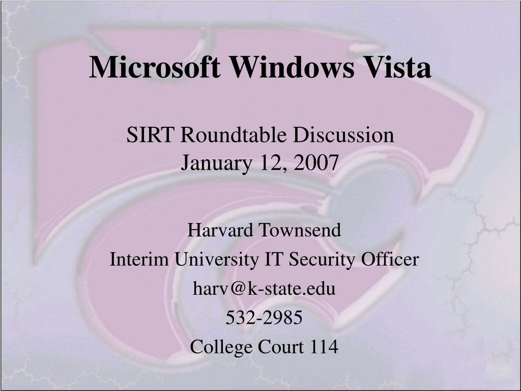 microsoft windows vista sirt roundtable discussion january 12 2007 l.