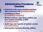 administrative procedures checklist