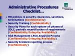 administrative procedures checklist29