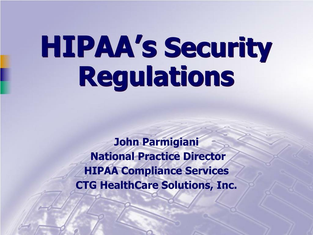hipaa s security regulations l.