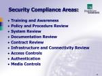 security compliance areas