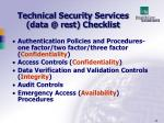 technical security services data @ rest checklist