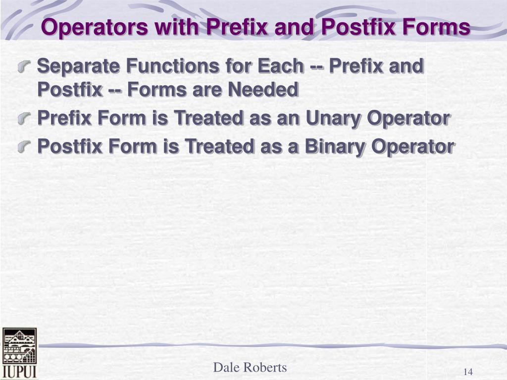 Operators with Prefix and Postfix Forms